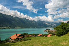 Lake Brienz in Switzerland on mountain background Royalty Free Stock Photo