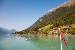 Lake Brienz with village. Lake Brienz, village in Switzerland Stock Photography