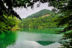 Lake Brugneto and hills in Park Antola, Liguria, Italy Royalty Free Stock Photo