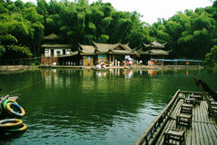 The lake of the building. Yibin City, Sichuan Province, China Bamboo Sea, national AAAA tourist area.The lake of the building Stock Photography