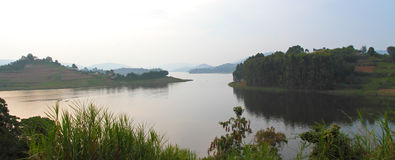 Lake Bunyoni Panorama. A panoramic view of Lake Bunyoni, Uganda from Itambira Island royalty free stock image