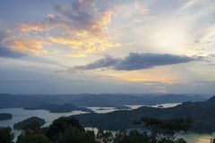 Lake Bunyonyi at dusk Royalty Free Stock Images