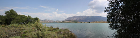 Lake Butrint, Albania Landscape. A panorama of the Lake Butrint (Butrinti) in Albania as seen from the Unesco World Heritage Site of Butrint. Taken in August Stock Image