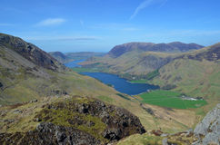 Lake Buttermere and Crummock Water. A view looking over Lake Buttermere and Crummock Water in the distance seen from the trail up to Haystacks in Lake district Stock Photo