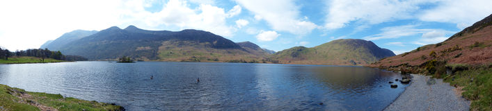 Lake Buttermere Panorama. Beautifully coloured panorama of Lake Buttermere in the Lake District, UK Stock Photo