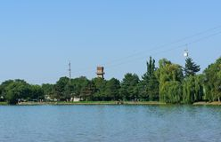 The lake and the cable car. View of the resort lake observation tower cable car in Nalchik Stock Photo