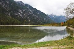 Lake in Cadore, Belluno region, Italy royalty free stock photography