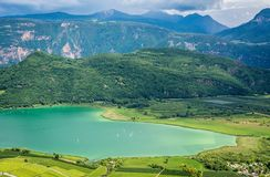Lake Caldaro along the South Tyrolean Wine Route is the warmest bathing lake in the Alps. Trentino Alto Adige, Italy royalty free stock images