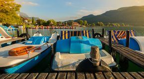 Lake Caldaro view over the popular lake at South tyrolean Wine Route near Merano and Bolzano,Italy. View over the popular Lake Caldaro at South tyrolean Wine stock photo