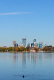 Lake Calhoun in Minneapolis. This is a view of the Minneapolis Skyline as seen from Lake Calhoun Stock Image