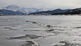Lake Campotosto in Abruzzo in Italy stock video footage