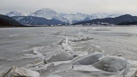 Lake Campotosto in Abruzzo in Italy stock video