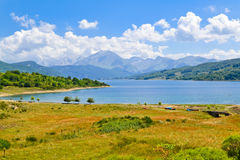 Lake Campotosto in summer Royalty Free Stock Photos