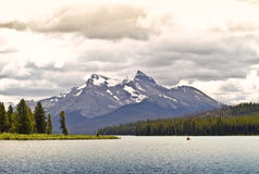 Lake and canoe Canada banff national park Stock Photos