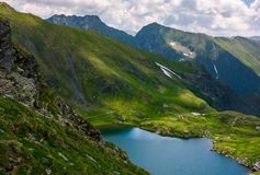 Lake Capra in Fagarasan mountains of Romania. Beautiful summer scenery on a cloudy day. Popular tourist destination for Hiking Stock Photo