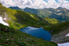 Lake Capra in Fagarasan mountains of Romania. Beautiful summer scenery on a cloudy day. Popular tourist destination for Hiking Stock Photography
