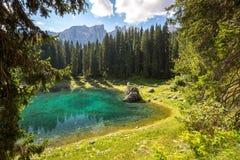 Lake Carezza, Dolomites, Italy Stock Images