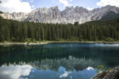 Lake of Carezza. Lake Carezza with Mount Latemar, Bolzano province, South tyrol, Italy. Lago di Carezza lake or The Karersee with stock photos