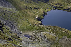 Lake on Carpathian mountains, Romania Royalty Free Stock Image