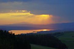Lake in carpathian mountains at spring Royalty Free Stock Images