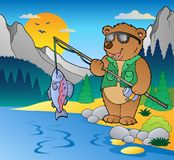 Lake with cartoon fisherman 2 Royalty Free Stock Photos