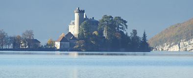Lake Castle. Castle on the lake of Annecy (France Royalty Free Stock Photography