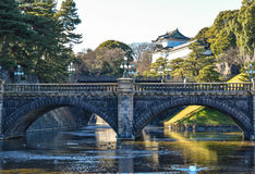 Lake in castle imperial palace tokyo japan, winter Royalty Free Stock Photos