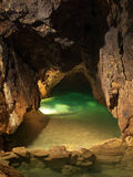 Lake in cave. Underground green lake in cave Royalty Free Stock Photography