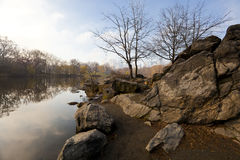 Lake in Central Park early spring Stock Photography