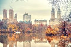Central park at autumn morning Royalty Free Stock Photography