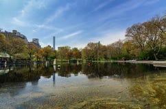 Lake in Central Park. Sail model lake in Central Park stock photo