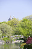 Lake in Central Park in Spring with Dakota Apartments in background, New York City, New York Stock Image