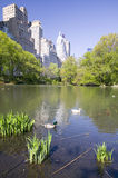 Lake in Central Park in Spring with New York City skyline in background, New York Stock Photo