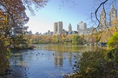 Lake in Central Park. View of the Museum of Natural History. Beautiful view from Central park to the Museum of Natural History in New York. United States of royalty free stock photo