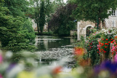 Lake in Chablis. A lake in the city of Chablis, a view of the city park royalty free stock photography