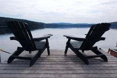 Lake chairs Royalty Free Stock Images