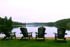 Lake chairs royalty free stock photos