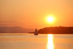 Lake Champlain at Sunset. With lighthouse Royalty Free Stock Photography