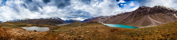 Lake Chandra Taal, Spiti Valley panorama Stock Photos