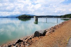 Lake Chatuge dam & Appalachian mountains royalty free stock photos