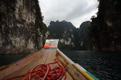 Lake Cheow-lan. Boat on Lake Cheow-lan Thailandn Stock Image