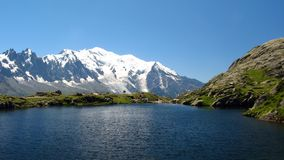 Lake of Cheserys, Haute Savoie, France. A lake with Mont Blanc behind Stock Photography