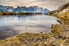 Lake Of Cheserys And Mountain Range-France Stock Image