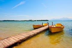 Lake  Chiemsee. Yellow Boats Moored on the Lake  Chiemsee Stock Image