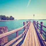 Lake Chiemsee. Bavarian lake Chiemsee in Germany, Instagram Effect Stock Image