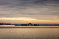 Lake Chiemsee with island Herreninsel Stock Photos