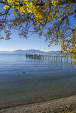 Lake Chiemsee with landing stage in autumn Stock Images