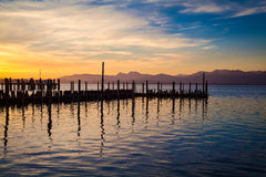 Lake Chiemsee in morning light Stock Photo