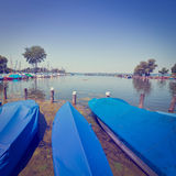 Lake Chiemsee. Tarpaulin Covers for Boats, the Lake Chiemsee in Bavaria, Instagram Effect Stock Photography