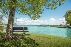 Lake Chiemsee with tree and bench. View to the lake Chiemsee with bench and tree on a day with sun, blue sky and white clouds Stock Photography